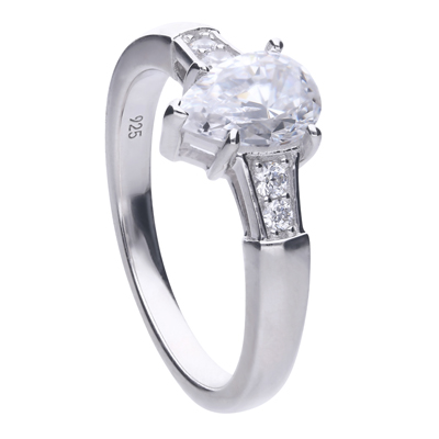 Teardrop ring silver with white Diamonfire zirconia and lateral setted stones