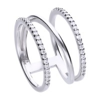 Statement ring silver with white Diamonfire zirconia and several ringbands
