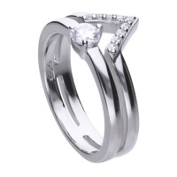 Geometrical ring silver with white Diamonfire zirconia and several ring bands
