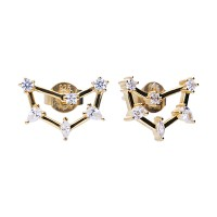 Zodiac sign earrings capricorn yellowgold with white Diamonfire zirconia