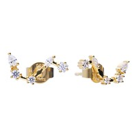Zodiac sign earrings aries yellowgold with white Diamonfire zirconia