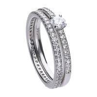Ringset silver with white Diamonfire zirconia and pave setting