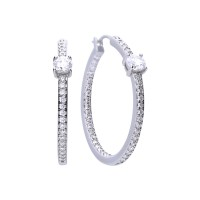 Creole silver with white Diamonfire zirconia, prong setting and pave setting