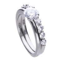Ring set silver with white Diamonfire zirconia and prong setting