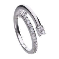Arrow ring silver with white Diamonfire zirconia and open-ended ring band