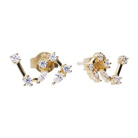 Zodiac sign earrings lion yellowgold with white Diamonfire zirconia