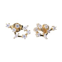 Zodiac sign earrings sagittarius yellowgold with white Diamonfire zirconia