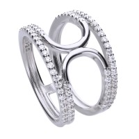 Fine, broad pave ring silver with white zirconia stones and entwined ring bands