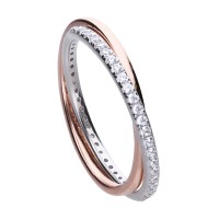Double ring bicolor with white Diamonfire zirconia and interwoven ring bands